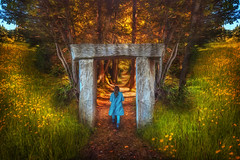 Secret path (Chrisnaton) Tags: girl childhood fairytale walking path surreal journey stonegate fable secretpath springmeadow secretgate