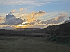 West Light (Deepgreen2009) Tags: light sunset sky cloud west home weather garden landscape glow surrey hills cumulus shining crepuscularrays