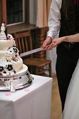 Cutting the Cake (kimnadineprowse) Tags: wedding love cake canon photography groom bride holding hands couple cut weddingcake knife marriage reception together slice sponge
