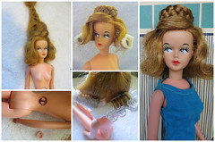 1. Frizzy Tressy (Foxy Belle) Tags: vintage fix hair back missing doll character american repair button 1960s tlc tressy