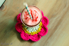 Frozen pink drinks and crochet coasters (lisaclarke) Tags: us newjersey unitedstates crafts crochet drinks iced making crafting mandalas longhill masonjars paperstraws lisaclarke polkadotcottage modfloralmandala pdcmodfloralmandala