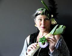 120/366 The Girl With The Pearl and Garlic Earring (ruthlesscrab) Tags: self weird garlic onion leek allium wah scallion hereios werehere 366the2016edition 3662016 29apr16 day120366 onionsetallia