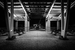 Mount Pleasant Pier at NIght, B&W (Ms Stacy) Tags: longexposure bridge blackandwhite bw monochrome night pier southcarolina mount charleston walkway pleasant ravenel nightpics 2016