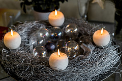 Candles on the Silver II (ToDoe) Tags: silver advent candle adventwreath wreath adventskranz kerzen candels silber christmaswreath