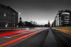 Welcome 2016 (berlin-belichtet.de) Tags: longexposure light sunset red blackandwhite berlin church yellow germany lights licht cityscape sonnenuntergang traffic kirche olympus gelb mitte verkehr omd langzeitbelichtung colorkey schwarzweis strasenverkehr grunerstrase grunerstr omdem10