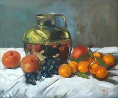 (monique shaw) Tags: stilllife fruits mandarine grapes ms oil copper jug citrus oranges colourful oilpainting