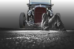 Fixer Upper (Scott 97006) Tags: road man car fix automobile machine repair vehicle tinker tinkerer