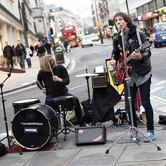 Tommy and Mary busking in London (quadriman brother) Tags: street music london rock mary band tommy rockband busking charingcross tommyandmary