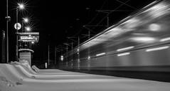 Train passing by (lindblomlinus) Tags: longexposure winter blackandwhite snow motion monochrome train movement pentax sweden trains trainstation sverige bnw tg longexpo samyang bastutrsk
