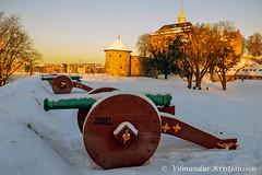 Cannons (DSC_6389 vk) (Villi Kristjans) Tags: winter sky house snow color colour sunshine oslo norway digital sunrise nikon warm akershus fortress festning villi vk slott d3200 kristjansson castla kristjnsson kristjans kristjns vilmundur vkphoto