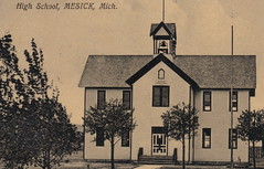 """NW Mesick Wexford MI c.1908 Two Story Village High School with Bell Tower to call in the kids BUILT 1894 Dirt Streets Horse & Buggy Days Photographer FLOYD GATES- (UpNorth Memories - Donald (Don) Harrison) Tags: travel usa heritage history tourism vintage antique michigan postcard memories restaurants hotels trailer roadside upnorth cafes attractions motels cottages cabins campgrounds upnorthmemories rppc wonders"""" """"michigan memories"""" parks"""" entertainment"""" """"natural harrison"""" """"roadside """"travel """"don """"tourist puremichigan stops"""" """"upnorth"""