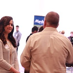 A student networking at a career fair