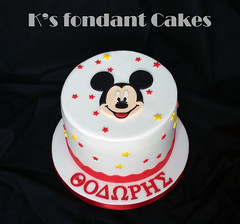 Mickey Mouse cake (K's fondant Cakes) Tags: red white black cake mouse mickey fondant