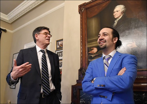 Treasury Secretary Jacob J. Lew meets with Hamilton creator and star L