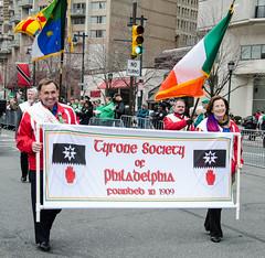 Sean and Geraldine Trainor Hold the Tyrone Banner