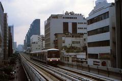 Thailand - Bangkok - Skytrain trial run (railasia) Tags: thailand bangkok infra nineties silom bts cityline thirdrail trialrun emu3 silomline elevatedstructure metrosubwayunderground routenº2