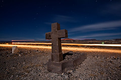 Cemetery Express (stammberger13) Tags: cemetery grave car dead lights long exposure cross desert nevada fullmoon spooky orbs howling goldfield coyotes