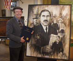 Ruane Manning with his Portrait of Joe McGarrity