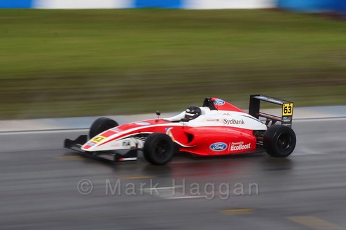 Nicolai Kjærgaard in British Formula Four during the BTCC Donington Weekend: 16th April 2016