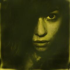 Polaroid Week, Day 3 (abdukted1456) Tags: portrait woman slr face project polaroid se tip 600 integral duotone slr680 680 impossible instantfilm polaroidweek duochrome 680se roidweek yellow600 thirdmanedition
