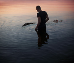 Unconfortable (Bairon Rivera) Tags: ocean sunset reflection water silhouette dark landscape outdoors alone maryland crocodile ripples annapolis afraid conceptual conptual