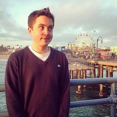 n at the pier (Marissa Shae) Tags: ocean boy portrait sky man bird pier sweater pacific santamonica ferriswheel iphone instagram