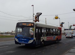 PE13LTA Stagecoach 27886 moving southbound along Blackpool Promenade on a dull wet April Fools Day (j.a.sanderson) Tags: moving lancashire number promenade 300 alexander dennis fleet blackpool along stagecoach enviro southbound merseyside 27886 pe13lta