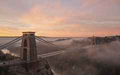 Bristol - Clifton Suspension Bridge (Harshil.Shah) Tags: uk morning bridge autumn england mist fog sunrise bristol suspension britain united great kingdom somerset gb avon clifton