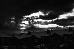 Snow in April (N345H) Tags: blackandwhite bw snow beautiful beauty clouds buildings bnw