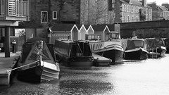 home on the water 01 (byronv2) Tags: blackandwhite bw water monochrome scotland boat canal blackwhite edinburgh houseboat barge unioncanal edimbourg fountainbridge polwarth
