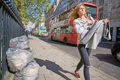 20160419-14-39-41-DSC08412 (fitzrovialitter) Tags: street red england urban bus london girl westminster trash geotagged garbage fitzrovia unitedkingdom camden coat soho ripped streetphotography documentary sneakers litter jeans blond bloomsbury rubbish environment mayfair westend flytipping oxfordcircus carrying dumping cityoflondon marylebone captureone gpicsync peterfoster fitzrovialitter followthisroute