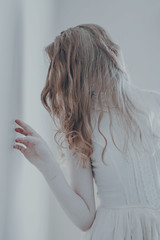 A Delicate Balance (Abby Kroke) Tags: woman white girl beautiful beauty wall lady female pose hair hand dress emotion cut lace fingers injury pale faceless pearl lovely emotional scar emotive