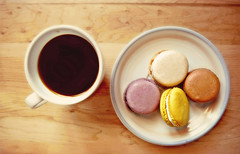 Coffee and Macarons. (Through Serena's Lens) Tags: life coffee dessert still colorful sweet tabletop macarons