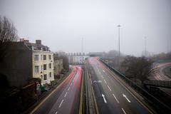 Hotwells Fog (pixelhut) Tags: city uk morning england urban motion blur streets southwest cars fog bristol lights early movement traffic foggy journey british roads flyover hotwells cumberlandbasin