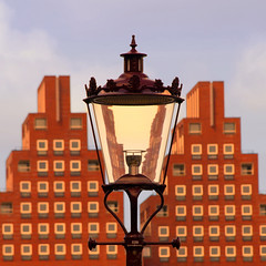 Same difference (Arni J.M.) Tags: blue windows sky orange holland building glass lamp amsterdam wall architecture streetlamp thenetherlands lamppost tetris samedifference steppyramid tetrisshape