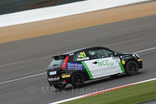 Nathan Edwards in the BRSCC Fiesta Championship at Silverstone, April 2016
