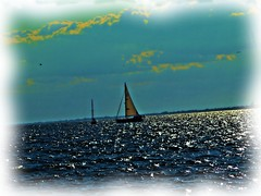 Sailboat DP 1 (Fire Engine Red) Tags: sky canada nature water lakeerie essexcounty horizon digitalart knot leamington sailboats grapevine southwesternontario havingfunwiththis corelpainteressentials5 iloveplayingwithcorelstuff