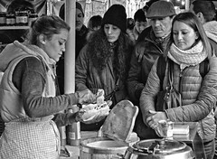 Anticipation............... (MWBee) Tags: people blackandwhite food london mono nikon market boroughmarket borough d5000 mwbee