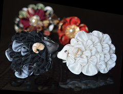 Black and White: Year of the Sheep. Zodiac Kanzashi. (Bright Wish Kanzashi) Tags: flower cute art animal hair asian japanese pin sheep handmade style ornament fabric zodiac ornate fiber creature technique  tsumami kanzashi