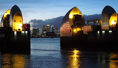 Canary Wharf seen through the Thames Barrier, Jan 2016 (roger.w800) Tags: city london water river canarywharf riverthames thamesbarrier