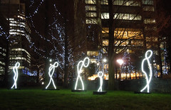 Winter Lights, Canary Wharf, Jan 2016 (roger.w800) Tags: light color colour london art water colors artwork colours creative docklands canarywharf artinstallation imaginative winterlights lightatnight artandcolour
