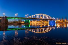 Rijnbrug Arnhem (John Forst Bridge) (www.petje-fotografie.nl) Tags: arnhem bluehour gelderland spiegeling blauweuurtje rijnbrugarnhem johnfrostbrugarnhem