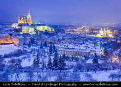 Czech Republic - Prague - Prague Castle & Saint Vitus's Cathedral during winter under fresh cover of snow at Dusk - Twilight - Blue Hour - Night ( Lucie Debelkova / www.luciedebelkova.com) Tags: world city trip travel winter vacation holiday snow castle tourism church skyline night town twilight europe cityscape tour place czech prague dusk country eu prag praha praga visit location tourist praskhrad unesco worldheritagesite journey czechrepublic destination bluehour traveling visiting exploration bohemia touring europeanunion czechoslovakia chek ceskarepublika praguecastle centraleurope ceska goldencity cesko esko eskrepublika cityofahundredspires ceskrepublika ceskoslovensko goldenestadt luciedebelkova pragamaterurbium prahamatkamst stovatpraha zlatmsto wwwluciedebelkovacom praguemotherofcities