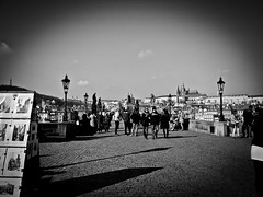 Karlův most (Charles Bridge) (Halibel14) Tags: bridge blackandwhite pen river lens lumix prague olympus czechrepublic charlesbridge praguecastle karlůvmost prazskyhrad epl1