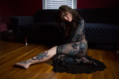 Sarah (austinspace) Tags: red portrait woman tattoo nude washington bed model spokane room naturallight lingerie tattoos brunette dontcare negligee