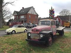 Late '40s Ford truck, Portland, CT (63vwdriver) Tags: ford 1948 1969 yellow vw truck bug volkswagen portland bed flat connecticut beetle ct convertible winery yukon 1950 1949 arrigoni