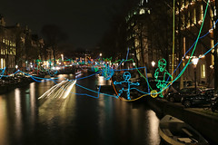 Herengracht - Amsterdam (Netherlands) (Meteorry) Tags: longexposure winter light holland art netherlands colors lines amsterdam night evening canal movement europe december couleurs kunst hiver nederland illumination alf event kinetic le soir nuit paysbas utrechtsestraat herengracht noordholland gracht 2015 meteorry kineticartist pathscrossing amsterdamlightfestival ralfwesterhof