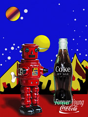 02468814-72-Coca Cola Forever Young-21 (Jim There's things half in shadow and in light) Tags: red color art toy tin robot bottle coke retro halftone popart cocacola windup cokebottles