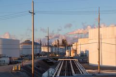 Oil Refinery (metroblossom) Tags: sunset indiana storage oil gasoline bp tanks whiting lateafternoon oilrefinery img1205 northwesternindiana whitingrefinery