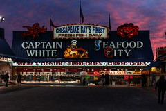 Seafood City at Sunset (Beau Finley) Tags: captainwhite seafood fish market fishmarket maineavenue maineave swdc southwest washingtondc beaufinley districtofcolumbia lowerleft sunset seafoodcity chesapeakebaysfinest sign vendor